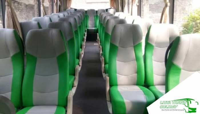 Interior Sewa Bus Pariwisata di Jakarta Murah Terbaik