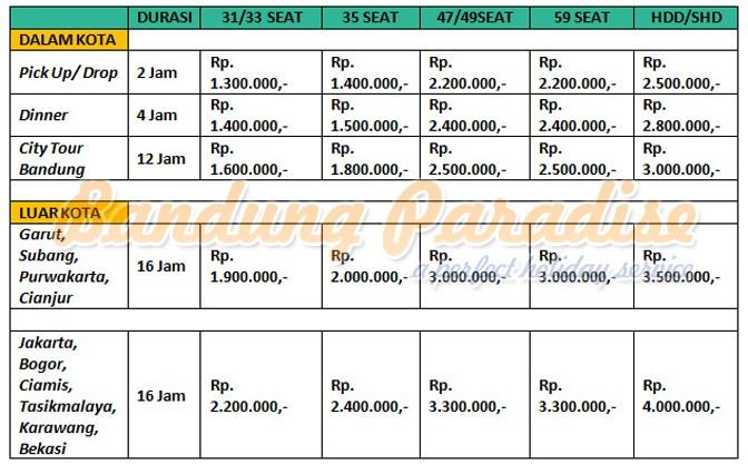 Price List Daftar Harga dan tarif Sewa Bus Pariwisata murah di Bandung Paradise